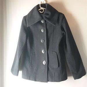 Laura Wool Cashmere Black Winter Pea Coat | S